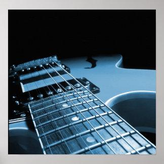 De la guitarra eléctrica del cierre azul para póster