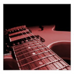 De la guitarra eléctrica del cierre rojo para arri impresiones