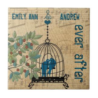 De la jaula de pájaros del grano del árbol azulejo cuadrado pequeño