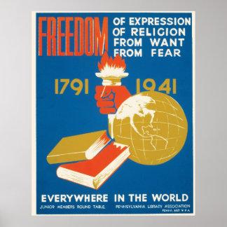 ~ de la libertad por todas partes en el mundo póster