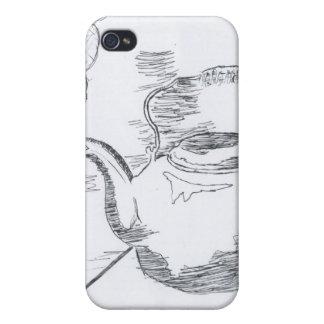 De la mano del dibujo todavía de la tetera engrana iPhone 4 carcasa