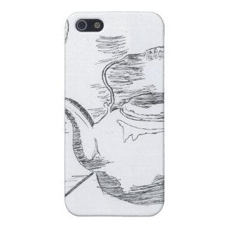 De la mano del dibujo todavía de la tetera engrana iPhone 5 fundas