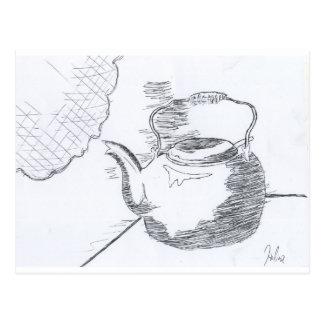 De la mano del dibujo todavía de la tetera postales
