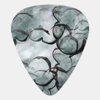de la mano gris del arte pintura vanguardista, plumilla de guitarra