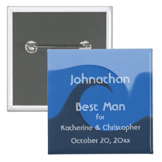 """De la """"mejor hombre azul marea"""" - con nombres y la pin cuadrada 5 cm"""