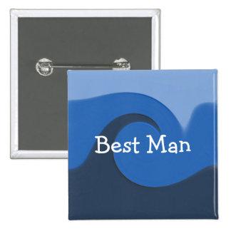 """De la """"mejor hombre azul marea"""" - pin cuadrada 5 cm"""