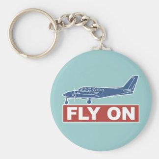 De la mosca aeroplano encendido - llavero redondo tipo pin