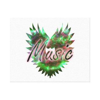 De la música del corazón del ala rosa verde de la impresión en lona estirada