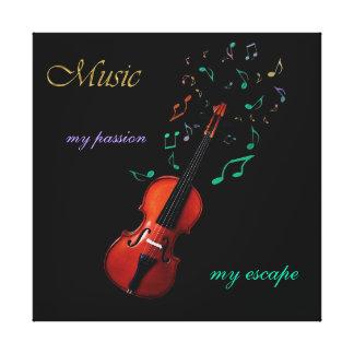 ~ de la música mi pasión mi lona del violín del impresión en lona estirada