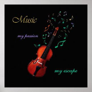 ~ de la música mi pasión mi poster del violín del