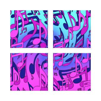 De la música notas musicales coloridas hermosas impresión de lienzo