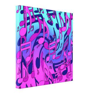 De la música notas musicales expresivas hermosas lienzo envuelto para galerías
