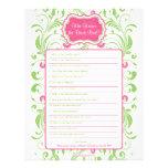 De la novia juego nupcial floral verde rosado de l membrete a diseño