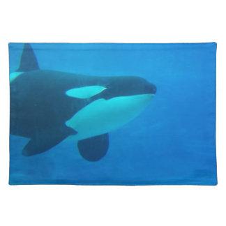 de la orca de la orca azul bajo el agua manteles individuales