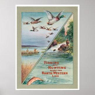 De la pesca de la caza poste occidental de la impr póster