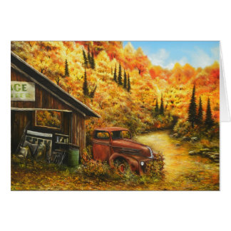 ~ de la pintura al óleo jubilado en tarjeta de