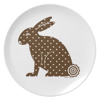 © de la placa de la melamina del conejito de pascu platos para fiestas