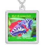 """♠ de la plata mariposa"""" ¦1TigerSwallowtail Necklac Grimpolas"""