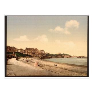 De la playa, Biarritz, los Pirineos, Francia Tarjeta Postal