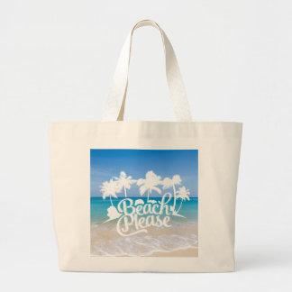 De la playa tote divertido de la cita por favor bolsa tela grande