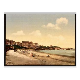 De la playa, vintage de Biarritz, los Pirineos, Tarjeta Postal