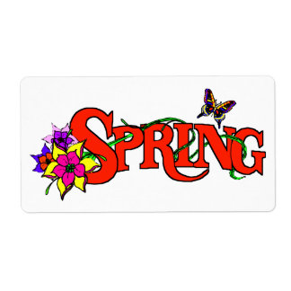 De la primavera colorfull mismo con las flores y etiqueta de envío