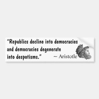 De la república al despotismo pegatina de parachoque