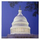 De la Rotonda del capitolio en la noche, Washingto Azulejo Cuadrado Grande