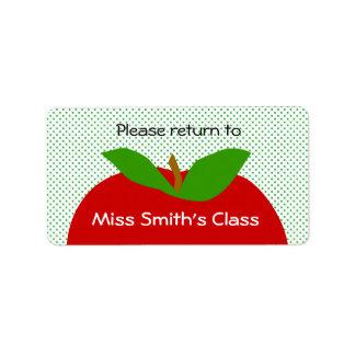 De la sala de clase de la etiqueta vuelta por favo etiqueta de dirección