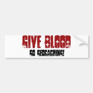 Dé la sangre etiqueta de parachoque