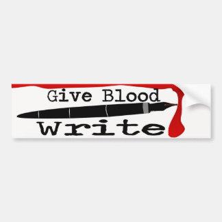 Dé la sangre escriben a la pegatina para el pegatina para auto