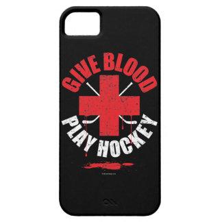 Dé la sangre. Juegue al hockey. caso del iPhone 5 Funda Para iPhone 5 Barely There