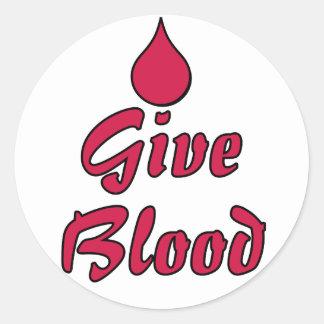 Dé la sangre etiquetas redondas
