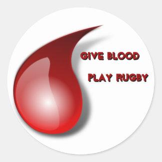 Dé la sangre, rugbi del juego pegatina redonda