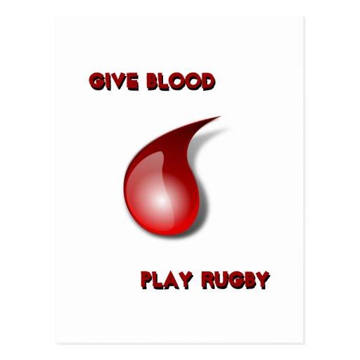 Dé la sangre, rugbi del juego tarjetas postales