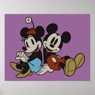 De la sentada de Mickey y de Minnie el | pares Póster