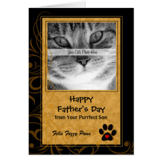 de la tarjeta de la foto del día de padre del gato