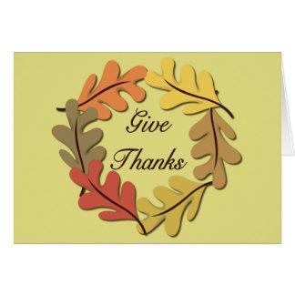 Dé la tarjeta de las gracias