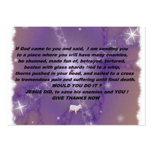 Dé la tarjeta del testigo de las gracias tarjetas de visita