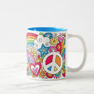 ♥ de la taza del arco iris del amor y de la