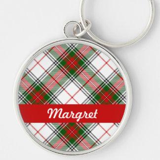 ~ de la tela escocesa del navidad personalizado llavero redondo plateado