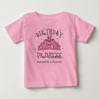 De la tiara 2do cumpleaños personalizado de la playera de bebé
