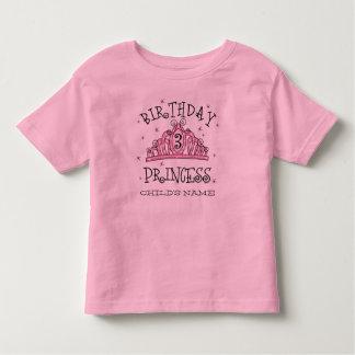 De la tiara 3ro cumpleaños personalizado de la playera de niño