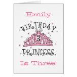 De la tiara 3ro cumpleaños tarjeta de la princesa