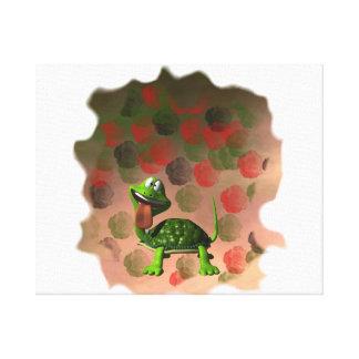De la tortuga de la lengua parte posterior loca de impresión en lienzo
