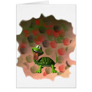 De la tortuga de la lengua parte posterior loca tarjeta pequeña