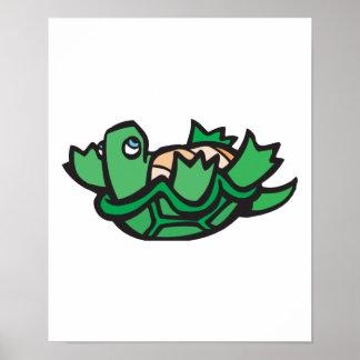 de la tortuga parte posterior linda encendido póster