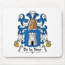 De la Tour Family Crest Mousepad