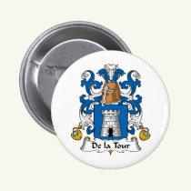 De la Tour Family Crest Button