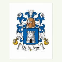 De la Tour Family Crest Postcard